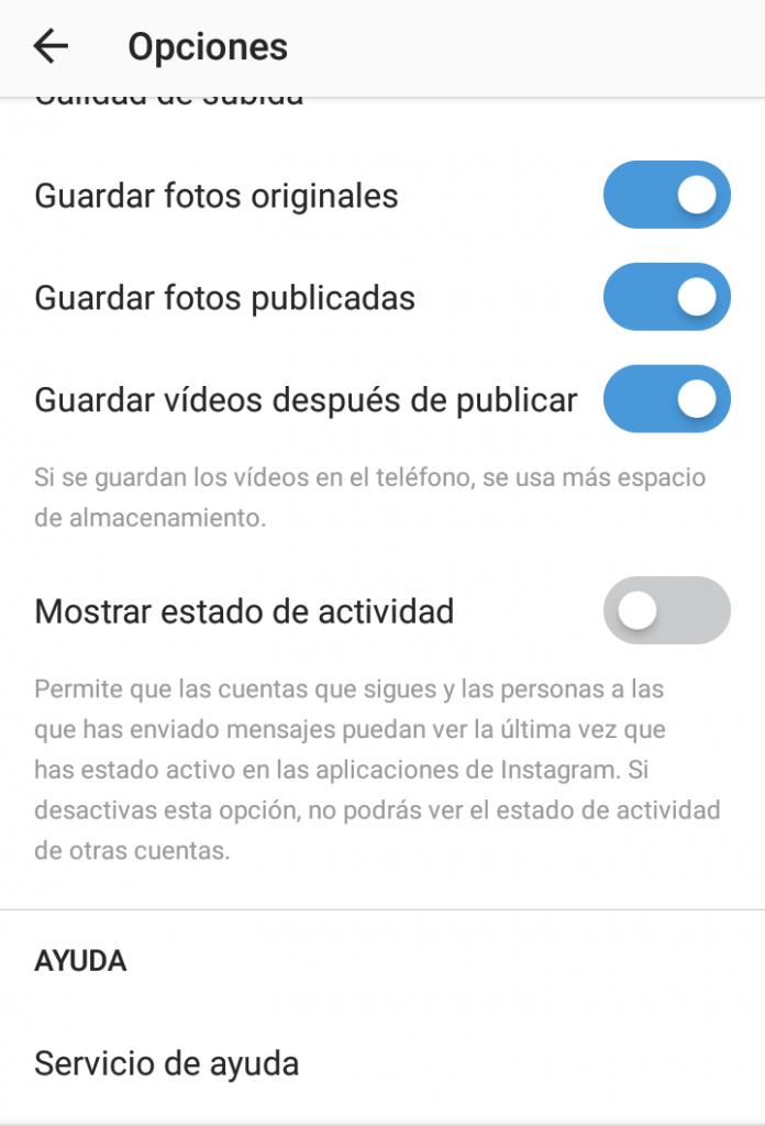 Desactivar última conexion en Instagram